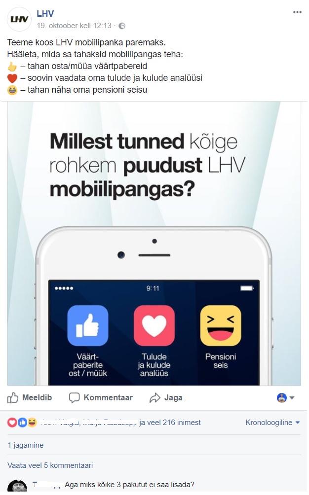 Facebooki turundus_LHV